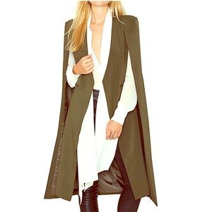 NWT Olive Green Open Front Cape Blazer